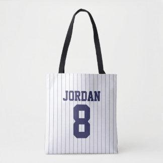 Bolsa Tote Jérsei de basebol com nome e número feitos sob