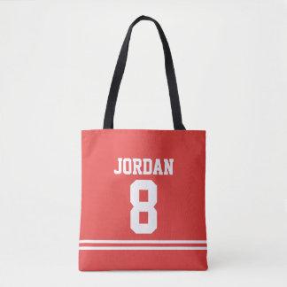 Bolsa Tote Jérsei vermelho do futebol com nome e número