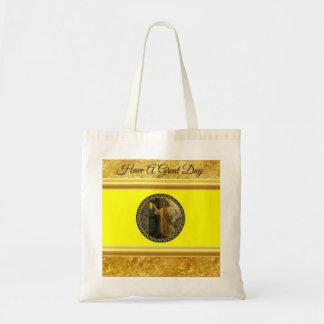 Bolsa Tote Jesus em sua folha de ouro da porta com textura