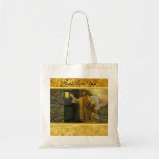 Bolsa Tote Jesus em sua porta com um design da folha de ouro