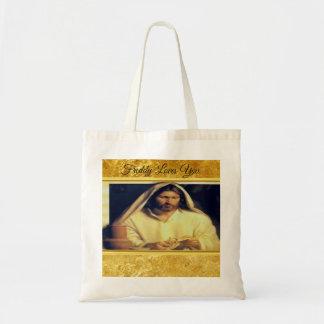 Bolsa Tote Jesus que quebra a textura do ouro de matthew
