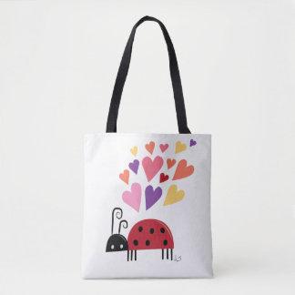 Bolsa Tote Joaninha do inseto do amor com corações