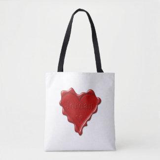 Bolsa Tote Jordão. Selo vermelho da cera do coração com