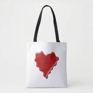 Bolsa Tote Kaitlin. Selo vermelho da cera do coração com