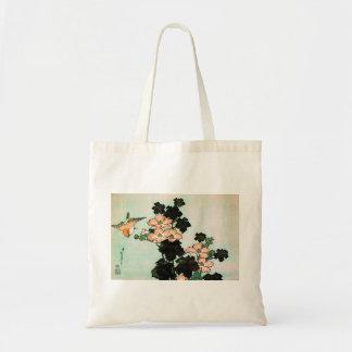 Bolsa Tote Katsushika Hokusai (葛飾北斎) - hibiscus e pardal