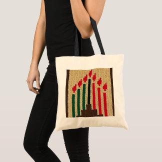 Bolsa Tote Kwanzaa Candles o Crochet verde preto vermelho de