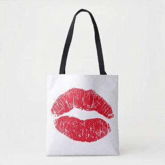 Bolsa Tote Lábios de beijo do vermelho