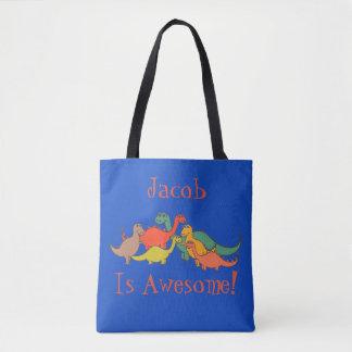 Bolsa Tote Lagarto colorido de T-Rex da decoração do