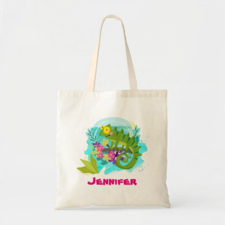 Bolsa Tote Lagarto tropical com as flores personalizadas