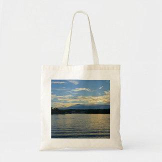 Bolsa Tote Lago do por do sol do azul de Ozarks