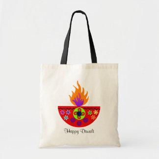 Bolsa Tote Lâmpada colorida Diya de Diwali