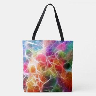 Bolsa Tote Lasers coloridos por todo o lado na sacola do