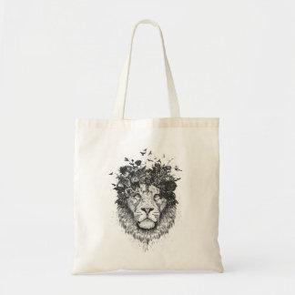Bolsa Tote Leão floral (preto e branco)