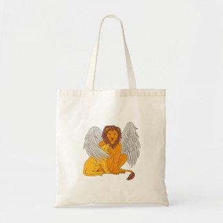 Bolsa Tote Leão voado com o Cub sob seu desenho da asa