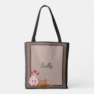 Bolsa Tote Leitão cor-de-rosa pequeno bonito personalizado