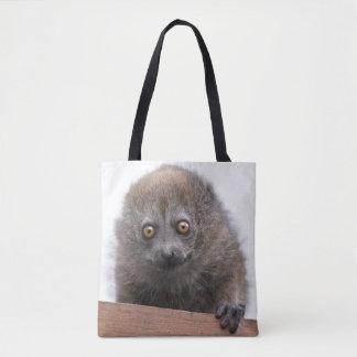 Bolsa Tote Lemur do bebê por todo o lado no saco do impressão