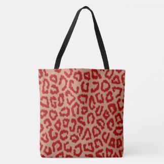 Bolsa Tote Leopardo vermelho e alaranjado