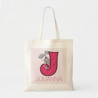 Bolsa Tote Letra cor-de-rosa J do Jackrabbit da menina com
