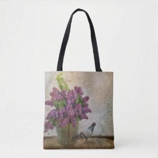 Bolsa Tote Lilacs em um balde oxidado idoso
