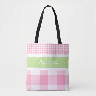 Bolsa Tote Limão & sacola cor-de-rosa do guingão do verão