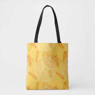 Bolsa Tote Limões amarelos brilhantes teste padrão tirado do