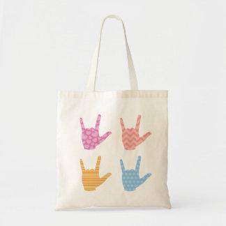 Bolsa Tote Linguagem gestual do ASL eu te amo em padrões