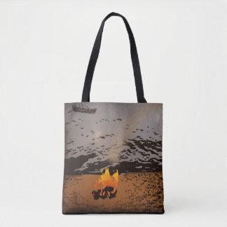 """Bolsa Tote """"Linha costeira"""" toda sobre - imprima a sacola"""