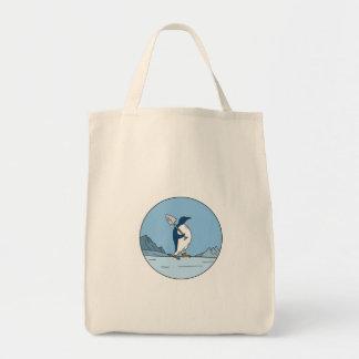 Bolsa Tote Linha do círculo de Antartica da pá do pinguim de