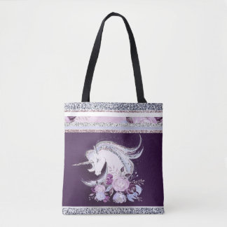 Bolsa Tote Linhas de prata roxas do unicórnio bonito da
