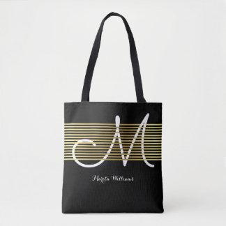 Bolsa Tote linhas entrelaçadas monogrammed do ouro do falso