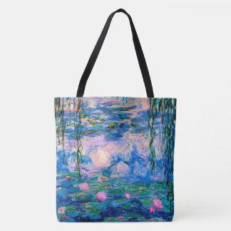 Bolsa Tote Lírios de água de Monet com reflexões da lagoa