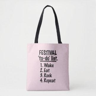 Bolsa Tote Lista do tumulto do ` do festival' (preto)