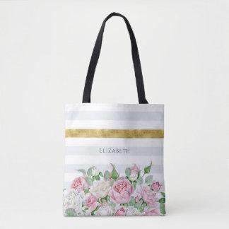 Bolsa Tote Listra elegante do ouro do FALSO com rosas