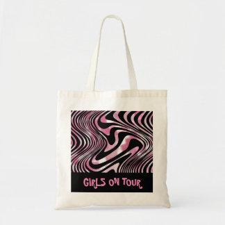 Bolsa Tote Listra Shimmery preta cor-de-rosa da zebra