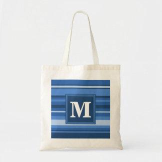 Bolsa Tote Listras azuis do monograma