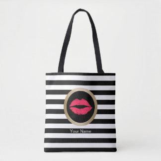 Bolsa Tote Listras brancas pretas modernas dos lábios