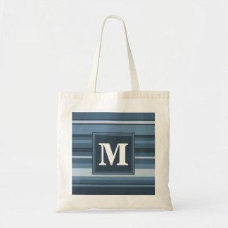Bolsa Tote Listras cinzento-azuis do monograma