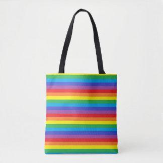 Bolsa Tote Listras contínuas do arco-íris