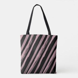 Bolsa Tote Listras cor-de-rosa e pretas da aguarela