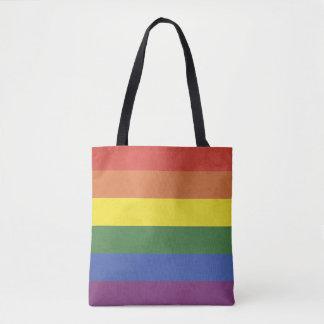Bolsa Tote Listras do arco-íris