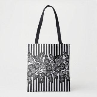 Bolsa Tote Listras e Black&White floral