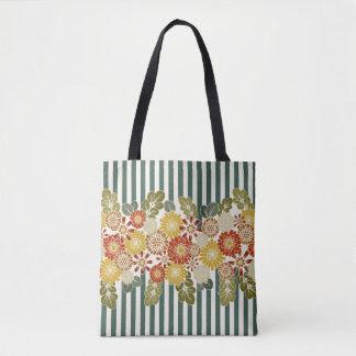 Bolsa Tote Listras e cores florais do vintage