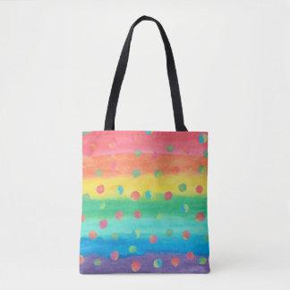 Bolsa Tote Listras e pontos coloridos da aguarela