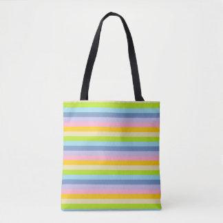 Bolsa Tote Listras Pastel contínuas do arco-íris