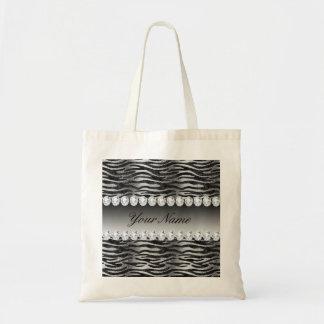 Bolsa Tote Listras pretas da zebra da folha do falso na prata