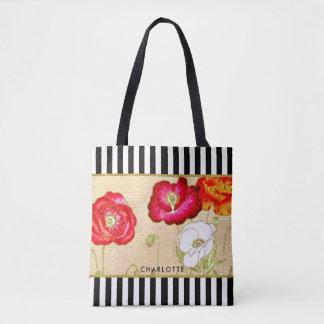 Bolsa Tote Listras pretas florais da papoila vermelha à moda