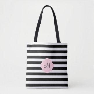 Bolsa Tote Listras preto e branco do monograma com rosa