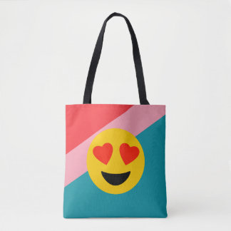 Bolsa Tote Listras & sacola de Emojis do amor