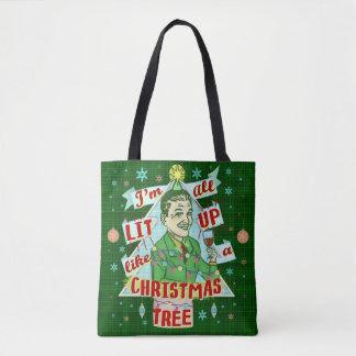 Bolsa Tote Lit retro do homem do humor do bebendo do Natal