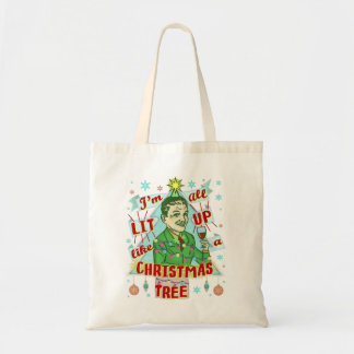 Bolsa Tote Lit retro do homem do humor do bebendo do Natal